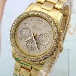นาฬิกาข้อมือผู้หญิง สาย สแตนเลส สีทอง หน้าปัดฝังเพชร คริสตัล กันน้ำ หน้าปัดกลม คลาสสิค no 618352_1