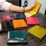 กระเป๋าสตางค์ผู้หญิง ใบสั้น กระเป๋าสตางค์ ใบเล็ก หนังวัวแท้ ส่วนที่สวยที่สุด Oil wax หนังเงา ยิ่งใช้ยิ่งสวย ใส่บัตรได้พอประมาณ มีดีไซน์ 716195