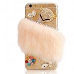 เคส iPhone 6 Plus 5.5 นิ้ว เคสขนมิ้ง ขนเฟอร์ เคสไฮโซ แบบเว่อร์ ๆ ติดคริสตัล หน้า สุนัขจิ้งจอก สุดหรู โทนสีส้ม เข้ากับ iphone สีทอง 340528