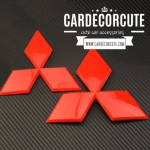 3D Mitsubishi Red Color Logo sticker - โลโก้มิตซูบิชิ สามเหลี่ยมสีแดง 3 ขนาด