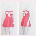 **สินค้าหมด dress2261 เดรสแฟชั่นเกาะอกเสริมฟองน้ำ ผ้าสกินนี่(ยืดได้เยอะ) สีชมพูปูน