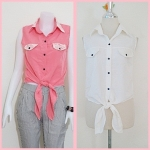 **สินค้าหมด Sale!! blouse1697 เสื้อแฟชั่นผ้าไหมอิตาลี คอปกเชิ้ตลูกไม้ ผูกเอว สีขาวครีม รอบอก 36 นิ้ว