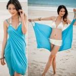 เสื้อคลุมชุดว่ายน้ำ ใส่เล่นเดินชายหาด ชายทะเล เดรส ใส่คลุมชุดบิกินี่ สีพื้น ปรับแบบ ได้ตามความต้องการ สีฟ้า ชมพู ม่วง ส้ม เหลือง เขียว 350911