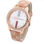 นาฬิกาข้อมือผู้หญิง สายหนัง pu หน้าปัดฝัง คริสตัล เพชร รอบเรือน ตัวเลขโรมัน สวยหรู คลาสสิค สีส้ม สาวเปรี้ยว มีสไตล์ 95728_4