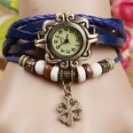 นาฬิกาข้อมือผู้หญิง นาฬิกา สายหนังถัก แบบสร้อยข้อมือ ห้อยจี้ ดอกไม้ ดอกโคลเว่อร์ สัญลักษณ์ ของความสุข ความโชคดี สีน้ำเงิน 36588_2