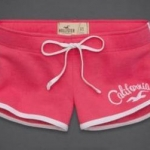 กางเกงขาสั้น กางเกงฟิตเนส กางเกงโยคะ Hollister california กางเกงผู้หญิง ขาสั้น สีชมพู ขอบขาว no 93812_12
