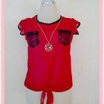 **สินค้าหมด Sale!! blouse1643 เสื้อแฟชั่นผ้าชีฟองเนื้อทรายแขนระบาย กระเป๋าอกปักเลื่อม ผูกชาย สีแดง รอบอก 36 นิ้ว