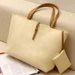 กระเป๋าถือสำหรับผู้หญิง ใบใหญ่ วัสดุ PU ทนทานกันน้ำได้ สีครีม