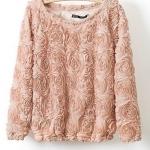 เสื้อกันหนาว เสื้อคลุมผู้หญิง ผ้า 2 ชั้น ดีไซน์ แต่งกุหลาบ ทั้งตัว เสื้อ แขนยาว เสื้อคลุม สไตล์ คุณหนู ไฮโซ หวาน ๆ สีชมพูอ่อน 347757
