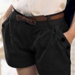กางเกงขาสั้น ผู้หญิง กางเกงแฟชั่น กางเกงจับจีบ ใส่เที่ยว กางเกงขาสั้น แต่งกระดุม ที่ กระเป๋ากางเกง 2 ข้าง สีดำ ดูแลง่าย 334841_1