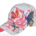 หมวก cap หมวกมีปีก หมวกเบสบอล ปักลาย ผีเสื้อ สีขาว สวยมากค่ะ no 323631_1