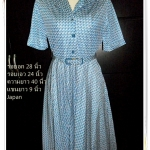 #1133 Used เดรสทำงาน ชุดแซก ใส่ทำงาน สีน้ำเงิน Made in Japan