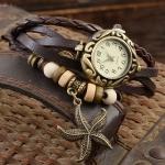 นาฬิกาข้อมือ ผู้หญิง นาฬิกาสายหนังถัก สไตล์สร้อยข้อมือ สีน้ำตาล ห้อย จี้ ปลาดาว วินเทจ สุด ๆ เท่ เก๋ อย่างมีสไตล์ 799462
