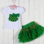 ชุด เสื้อ กระโปรง เด็กผู้หญิง เข้าชุดกัน ลาย หน้าแมว ติดโบว์ สีเขียว เสื้อสีขาว กระโปรงระบาย เป็นชั้น ชุดเด็กใส่เที่ยว น่ารัก ๆ 268994_1