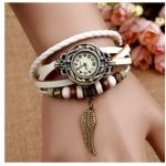 นาฬิกาข้อมือ ผู้หญิง สายหนังถัก สไตล์สร้อยข้อมือ วินเทจ ร้อยเม็ดบีด สีขาว คลาสสิค งาน handmade ห้อยจี้ รูปปีกนก สุดเท่ no 520286_5