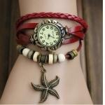 นาฬิกาข้อมือ ผู้หญิง สายหนังถัก สไตล์สร้อยข้อมือ วินเทจ สายหนังสีแดง ร้อยลูกปัดผสม ห้อยจี้รูปปลาดาว คลาสสิคสุด ๆ ของขวัญให้แฟน no 9798247_6