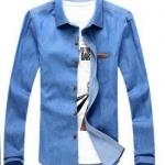 เสื้อ Jacket ยีนส์ แจ็คเก็ตยีนส์ ผู้ชาย เสื้อเชิ้ต ยีนส์ แขนยาว ใส่ทำงาน เสื้อยีนส์ คอปก ใส่ทำงาน สียีนส์ อ่อน ใส่ทำงานออฟฟิต มีกระเป๋าเสื้อ 239184_1