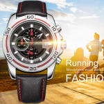 นาฬิกาข้อมือ ผู้ชาย นาฬิกาสายหนังแท้ แบบสปอร์ต นาฬิกาสำหรับนักเดินทาง ตัวเรือนแข็งแรงทนทาน มีระบบวันที่ ระบบวินาที 947487