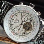 นาฬิกาโชว์กลไก นาฬิกาข้อมือเปลือย นาฬิกาข้อมือผู้ชาย Mechanical watch หรูหรา ไฮโซ สาย สแตนเลส เห็นด้านใน หน้าปัดขาว กรอบสีขาว 78285_2