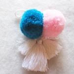 พู่+ปอมปอมแขวนกระเป๋าถักโครเชต์ pompom crochet