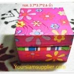 กล่องไม้ใส่ของขวัญ ลายดอกไม้สีชมพู หวาน ๆ