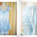 ชุดนอน ผ้าซาติน สีฟ้า