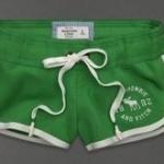 กางเกงขาสั้น กางเกงฟิตเนส กางเกงโยคะ Abercrombie สีเขียวแก่ ขอบขาว no 93812_9