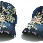 หมวกแก๊ป หมวกมีปีก หมวกยีนส์ หมวกผู้หญิง เท่ หมวกเบสบอล ผ้ายีนส์ แต่งคริสตัล ลายดอกไม้ หมวกใส่กันแดด สียีนส์ เข้ม และ อ่อน 344990_2