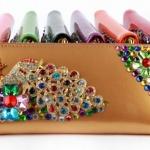 กระเป๋าสตางค์ผู้หญิง ใบยาว ซิปรอบ ติดคริสตัล นกหางนกยูง สีสวย กระเป๋าสตางค์ ถือออกงาน กระเป๋าคลัช สวยหรู ดูดี มีระดับ 449295