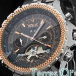 นาฬิกาโชว์กลไก นาฬิกาข้อมือเปลือย นาฬิกาข้อมือผู้ชาย Mechanical watch หรูหรา ไฮโซ สาย สแตนเลส เห็นด้านใน หน้าปัดดำ กรอบสี Rose gold 78285_1