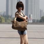 กระเป๋าสะพายข้าง กระเป๋าถือผู้หญิง ผ้าแคนวาส สีคลาสสิค สีน้ำตาล ทำความสะอาดง่าย กระเป๋าใส่ของทำงาน ใส่หนังสือเรียน ได้สบาย ๆ 5785425_2