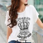 เสื้อยืดผู้หญิง ลายมงกุฏ เสื้อยืดแฟชั่น สีขาว เสื้อคอกลม เก๋ ๆ ติด เพชร สวย ๆ ใส่เที่ยว ใส่อยู่บ้าน เสื้อยืด แขนสั้น คอกลม ผ้านุ่ม ใส่สบาย 933396_2