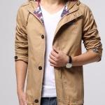 เสื้อ แจ็คเก็ต ผู้ชาย แบบ มีฮู้ด Jacket แขนยาว ผ้า Cotton ผสม Polyester ผ้า 2 ชั้น สีน้ำตาลอ่อน กากี ซิปหน้า แบบมี ดีไซน์ 635865