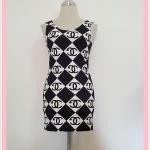 **สินค้าหมด dress2090 เดรสแฟชั่นงานแพลตตินั่มผ้ายืดเนื้อดี แขนกุด ลายชาแนลใหญ่โทนสีขาวดำ