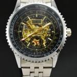 นาฬิกาข้อมือ Mechanical watch นาฬิกาโชว์กลไก นาฬิกาเปลือย สาย Stainless หน้าปัดดำ ตัวกลไกสีทอง ตัดกันอย่างลงตัว no 82069_1