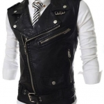 เสื้อ Jacket หนัง ผู้ชาย แจ็คเก็ตหนังแขนสั้น แบบเสื้อกั๊ก ดีไซน์ ตกแต่ง ซิป ด้านหน้า แบบเท่ ๆ สไตล์ อเมริกัน สีดำ no 78133