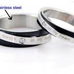 แหวนคู่ แหวนครบรอบวันแต่งงาน แหวนหมั้น แหวนแทนใจ ผู้ชาย ผู้หญิง สแตนเลส ดีไซน์ สีดำ คาดสีเงิน คล้ายสวม 2 วง ฝังเพชร 1 เม็ด สวยหรูมากค่ะ 483380