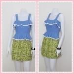 **สินค้าหมด Sale!! dress1953 เดรสแฟชั่น เสื้อยีนส์นิ่มชายระบาย ตัดต่อกระโปรงลายดอกไม้สีเขียว