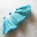 พู่สีฟ้าโครเชต์ ด้ายถัก venus เบอร์ 16 blue tassel crochet acrylic yarn no.16
