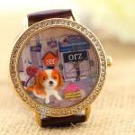 นาฬิกาข้อมือ Diy นาฬิกาข้อมือผู้หญิง สายหนัง แต่ง Display 3 มิติ ไอคอน สุนัข น่ารัก ๆ เหมือนเลี้ยง สุนัขใน นาฬิกาเลยค่ะ น่ารัก สุดๆ 268702