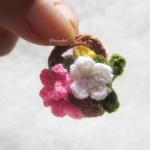 ช่อดอกไม้ใส่ตะกร้าจิ๋ว mini flowers crochet