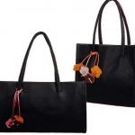 กระเป๋าถือผู้หญิง หนัง pu ดูแล ทำความสะอาดง่าย สไตล์ วินเทจ สีดำ ดูแลง่าย คลาสสิค ติดดอกไม้สวย ๆ ดีไซน์ แนวตั้ง และ แนวนอน ใส่ของได้เยอะ 882629_2