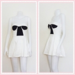**สินค้าหมด dress2267 เดรสแฟชั่นเกาะอกเสริมฟองน้ำ ผ้าสกินนี่(ยืดได้เยอะ) สีขาว