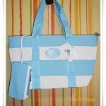 กระเป๋าถือ กระเป๋าสะพาย Lc สีฟ้าสลับขาว