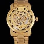 นาฬิกาข้อมือโชว์ผู้ชาย นาฬิกาแบบหน้าปัดโชว์กลไก สาย Stainless Steel สีทอง no 736684
