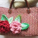 กระเป๋ากระจูดสาน ประดับดอกไม้ ขนาด 10*14*5*15 นิ้ว basket weave bags