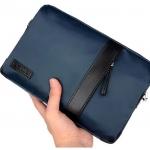 กระเป๋าสตางค์ผู้ชาย แบบถือ กระเป๋าถือผู้ชาย กระเป๋า คลัช ผ้าไนลอน อย่างดี ดีไซน์ ผสมหนัง เรียบหรู คลาสสิค กันน้ำได้ มีสีเทา และ สีน้ำเงิน ของขวัญให้พ่อ 766711