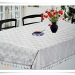 ผ้าปูโต๊ะ ผ้าคลุมโต๊ะ สีขาว ผ้าซาตินลายดอกกุหลาบ