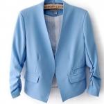 เสื้อสูทผู้หญิง ใส่สมัครงาน ทำงาน ออฟฟิต เสื้อสูท แบบ ตัวสั้น สีฟ้า เสื้อคลุม แบบสูท ใส่ทำงาน แบบสุภาพ ใส่ในออฟฟิต ราคาถูก 171361_1