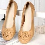 รองเท้าหุ้มส้น ผู้หญิง รองเท้าหนังแท้ ใส่เที่ยว ใส่ทำงาน ด้านหน้า ดีไซนติดโบว์ ใส่สบาย รองเท้าผู้หญิง ใส่ทำงาน สี Apricot ราคาถูก no 77216_2